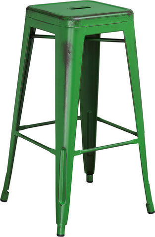 Tolix Style 30'' High Backless Distressed Green Metal Indoor/ Outdoor Barstool