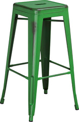 Tolix Style 30'' High Backless Distressed Green Metal Indoor/ Outdoor Barstool - YourBarStoolStore + Chairs, Tables and Outdoor