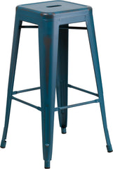 Tolix Style 30'' High Backless Distressed Kelly Blue Metal Indoor/ Outdoor Barstool - YourBarStoolStore + Chairs, Tables and Outdoor