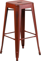 Tolix Style 30'' High Backless Distressed Kelly Red Metal Indoor/ Outdoor Barstool - YourBarStoolStore + Chairs, Tables and Outdoor