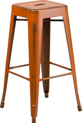 Tolix Style 30'' High Backless Distressed Orange Metal Indoor/ Outdoor Barstool - YourBarStoolStore + Chairs, Tables and Outdoor