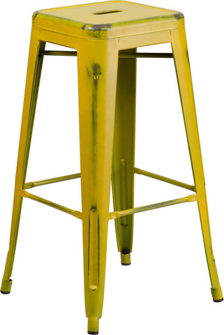 Tolix Style 30'' High Backless Distressed Yellow Metal Indoor/ Outdoor Barstool