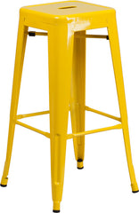 Tolix Style 30'' High Backless Yellow Metal Indoor-Outdoor Barstool with Square Seat - YourBarStoolStore + Chairs, Tables and Outdoor