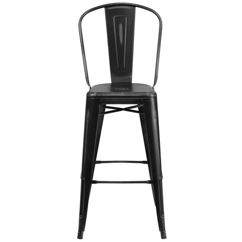 Tolix Style 30'' High Distressed Black Metal Indoor/ Outdoor Barstool With Back
