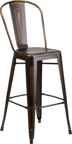 Tolix Style 30'' High Distressed Copper Metal Indoor/ Outdoor Barstool With Back