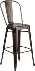 Tolix Style 30'' High Distressed Copper Metal Indoor/ Outdoor Barstool With Back - YourBarStoolStore + Chairs, Tables and Outdoor