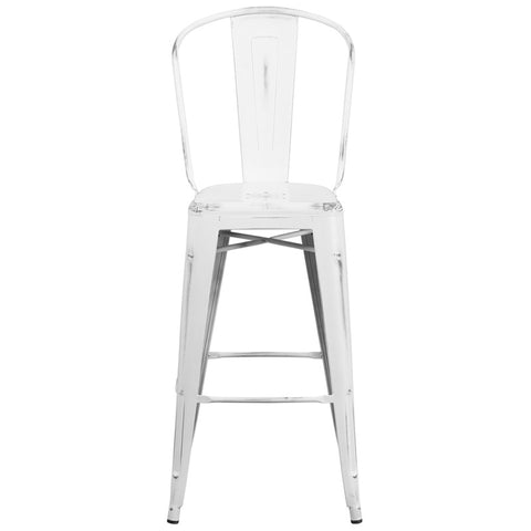 Tolix Style 30'' High Distressed White Metal Indoor/ Outdoor Barstool With Back