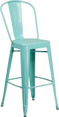 Tolix Style High Mint Green Metal Indoor-Outdoor Barstool With Back