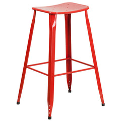 Industrial Pedestal Bar Stool Red Metal Indoor-Outdoor - YourBarStoolStore + Chairs, Tables and Outdoor