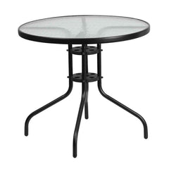 Commercial  31.5'' Round Tempered Glass Metal Table - YourBarStoolStore + Chairs, Tables and Outdoor