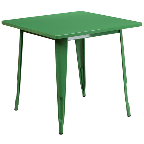 Commercial Bar Table - 31.5'' SQUARE GREEN METAL INDOOR TABLE