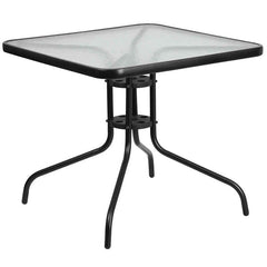 Commercial 31.5'' Square Tempered Glass Metal Table - YourBarStoolStore + Chairs, Tables and Outdoor