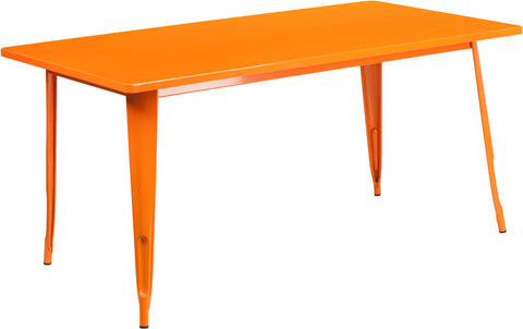 Commercial Bar Table - 31.5'' X 63'' RECTANGULAR ORANGE METAL INDOOR TABLE