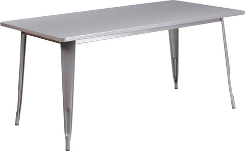 Commercial Bar Table - 31.5'' X 63'' RECTANGULAR SILVER METAL INDOOR TABLE
