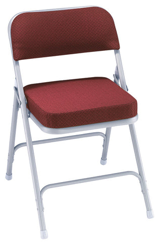 "Burgundy Pattern on Textured Grey 2"" Upholstered Seat Folding Chairs 3218"