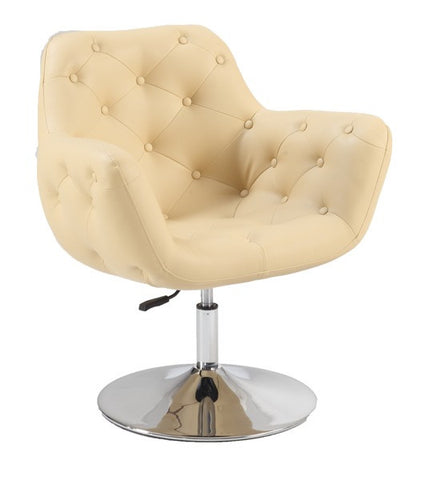 Chintaly Tufted Back Pneumatic Chair Beige Pu 3305-ACC-BGE