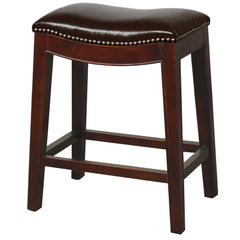 Elmo Bonded Leather Counter Stool, Black - YourBarStoolStore + Chairs, Tables and Outdoor
