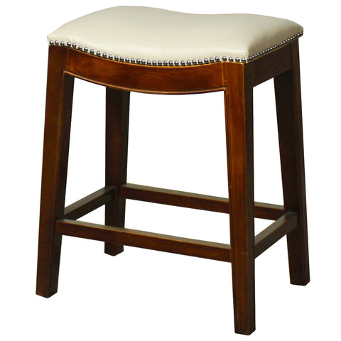 Elmo Bonded Leather Counter Stool, Ivory