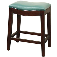 Elmo Bonded Leather Counter Stool, Turquoise - YourBarStoolStore + Chairs, Tables and Outdoor