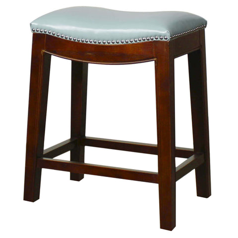 Elmo Bonded Leather Counter Stool, Blue