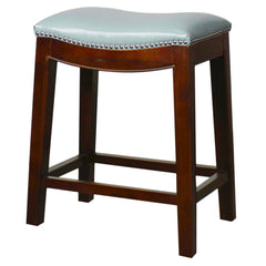 Elmo Bonded Leather Counter Stool, Blue - YourBarStoolStore + Chairs, Tables and Outdoor