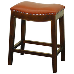 Elmo Bonded Leather Counter Stool, Pumpkin - YourBarStoolStore + Chairs, Tables and Outdoor