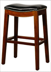 Elmo Bonded Leather Bar Stool, Black - YourBarStoolStore + Chairs, Tables and Outdoor