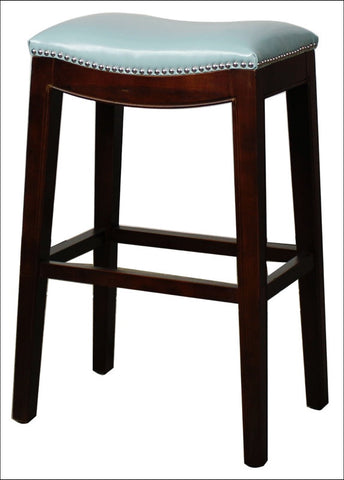 Elmo Bonded Leather Bar Stool, Blue