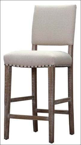 Arthur Fabric Bar Stool Brushed Smoke Legs, Light Sand