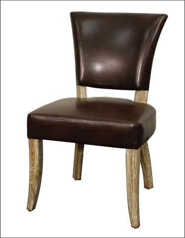 Austin Bonded Leather Chair Natural Wood Legs, Vintage Coffee