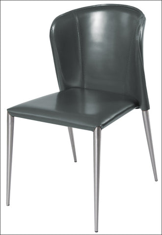 Devin Recycled Leather Chair  Brushed Stainless Legs, Anthracite