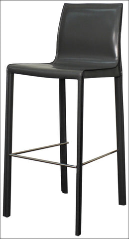 Gervin Recycled Leather Bar Stool, Anthracite