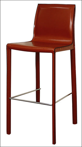 Gervin Recycled Leather Bar Stool, Cordovan