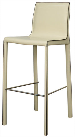 Gervin Recycled Leather Bar Stool, Vanilla