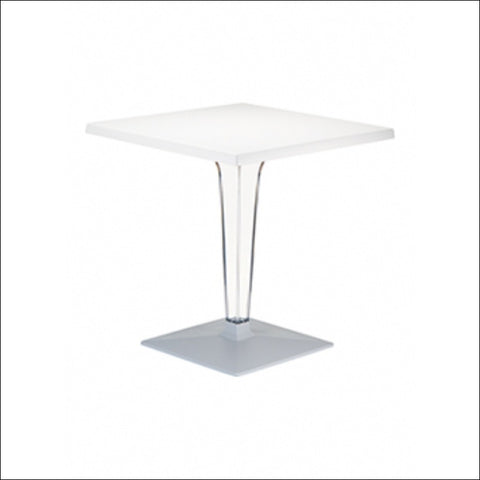 Compamia Ice Werzalit Top Round Dining Table with Transparent Base 24 inch White ISP500-WHI
