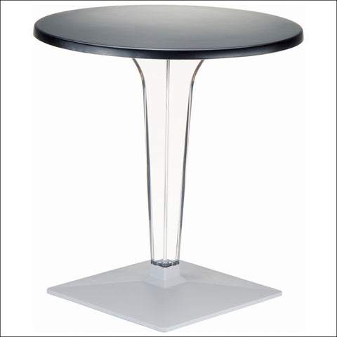 Compamia Ice Werzalit Top Round Dining Table with Transparent Base 24 inch Black ISP500-BLA