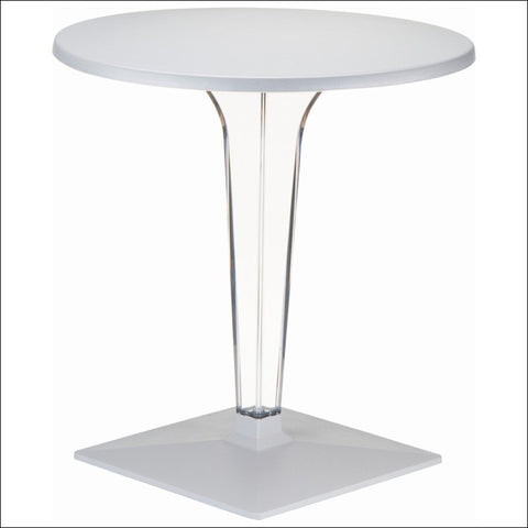 Compamia Ice Werzalit Top Round Dining Table with Transparent Base 32 inch Silver ISP520-SIL
