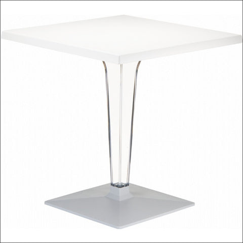 Compamia Ice Werzalit Top Square Dining Table with Transparent Base 24 inch White ISP550-WHI