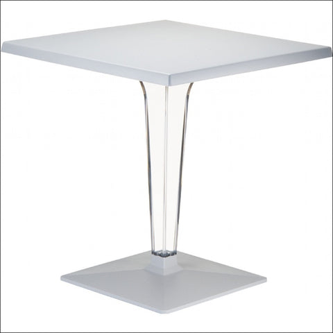 Compamia Ice Werzalit Top Square Dining Table with Transparent Base 24 inch Silver ISP550-SIL