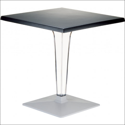 Compamia Ice Werzalit Top Square Dining Table with Transparent Base 28 inch Black ISP560-BLA
