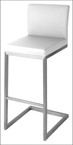 Bran KD Counter Stool Stainless Steel Frame, White
