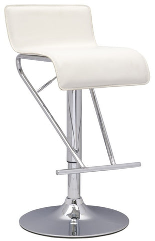 Chintaly Pneumatic Gas Lift Adjustable Height Swivel Stool White Pvc 6122-AS-WHT