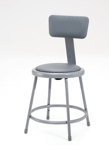 "18"" Grey Frame Stool with Padded Seat and ADJ. Backrest 6418B"