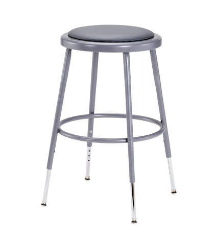 "19-27"" Grey Frame ADJ. Height Stool with Padded Seat 6418H"