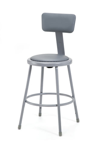 "24"" Grey Frame Stool with Padded Seat and ADJ. Backrest 6424B"