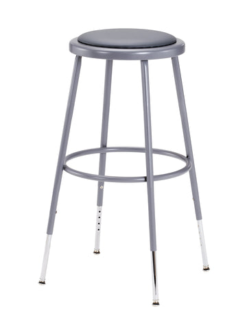 "25-33"" Grey Frame ADJ. Height Stool with Padded Seat 6424H"