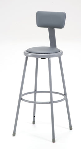 "30"" Grey Frame Stool with Padded Seat and ADJ. Backrest 6430B"
