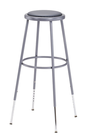 "31-39"" Grey Frame ADJ. Height Stool with Padded Seat 6430H"
