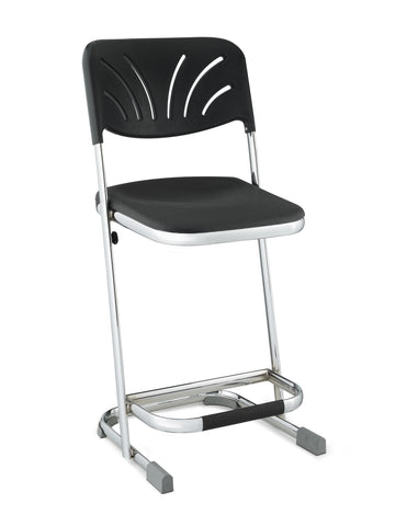 "Elephant Z-stool 22"" Stool with Blow Molded Black Seat and ADJ. Backrest Chrome Frame 6622B"
