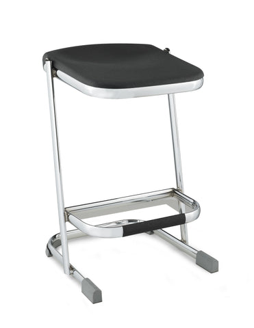 "Elephant Z-stool 24"" Stool with Blow Molded Black Seat Chrome Frame 6624"